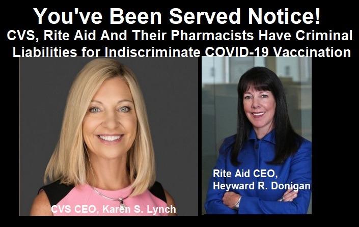 Served Notice! CVS, Rite Aid Dangers of Indiscriminate Covid-19 Vaccines